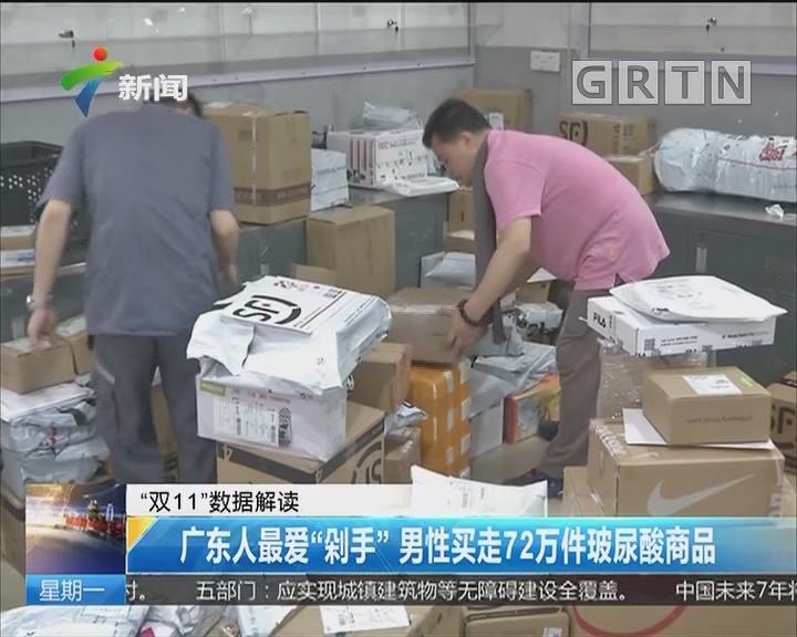 """""""双11""""数据解读:广东人最爱""""剁手"""" 男性买走72万件玻尿酸商品"""