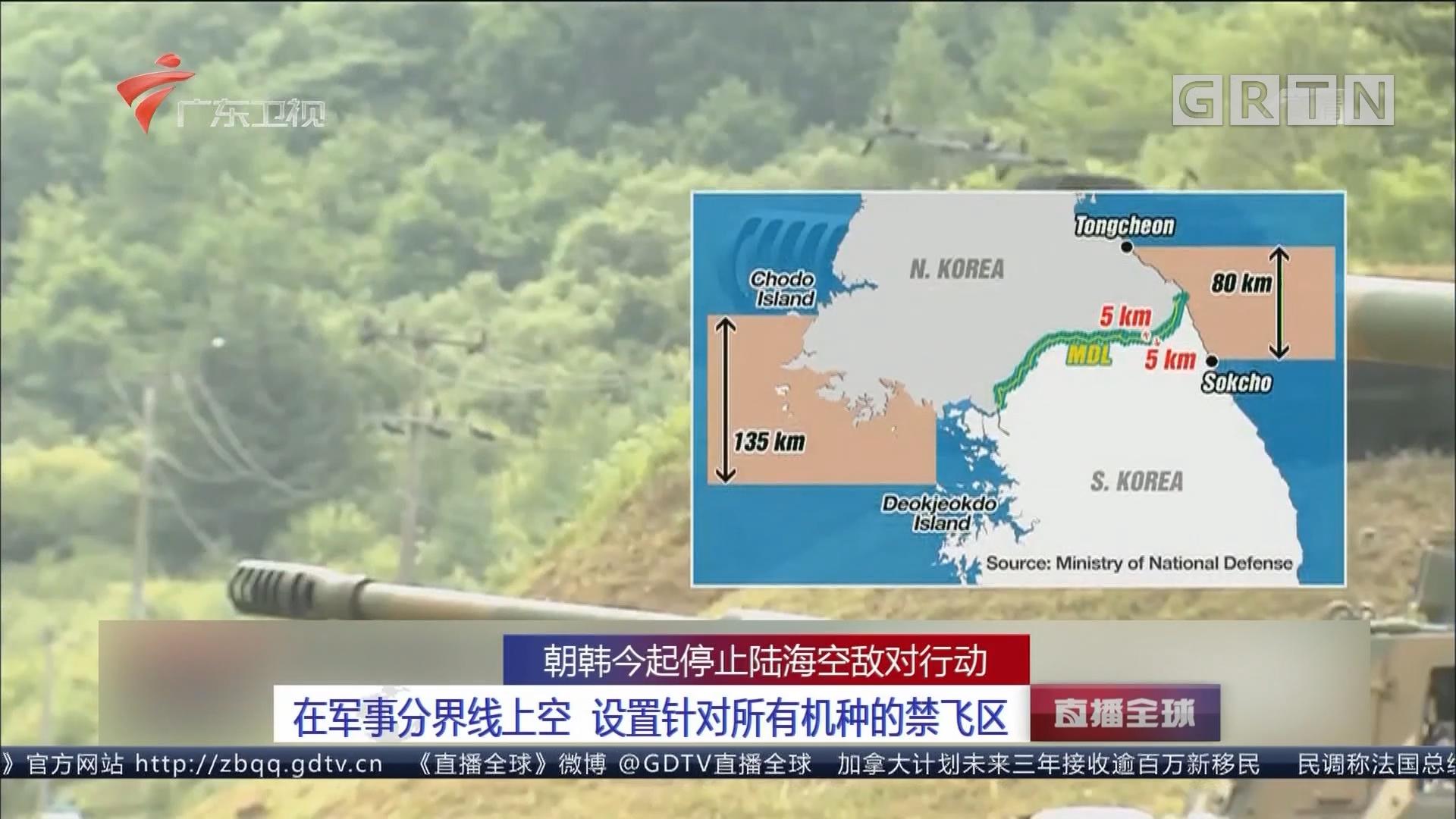 朝韩今起停止陆海空敌对行动:在军事分界线上空 设置针对所有机种的禁飞区