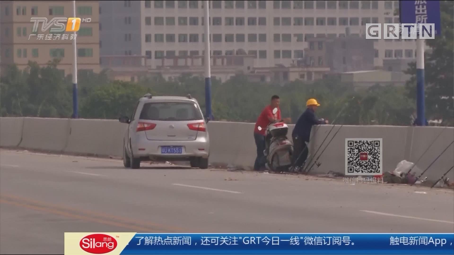 潮州潮安:在建大桥聚集垂钓者 执法人员出动劝离