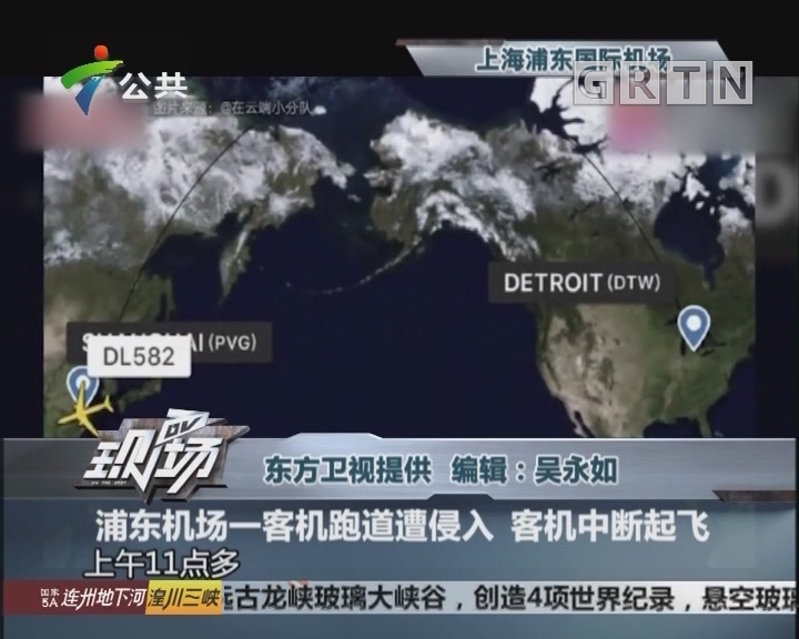 浦东机场一客机跑道遭侵入 客机中断起飞