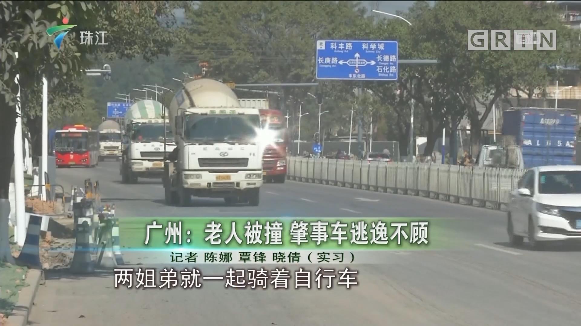 广州:老人被撞 肇事车逃逸不顾
