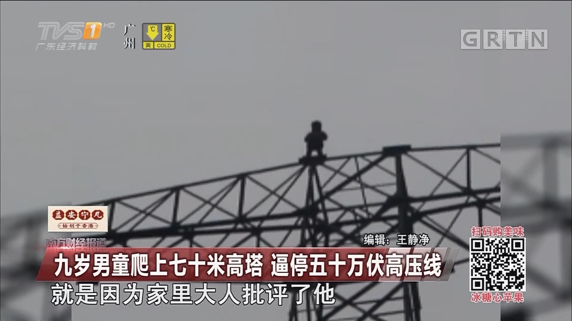 九岁男童爬上七十米高塔 逼停五十万伏高压线