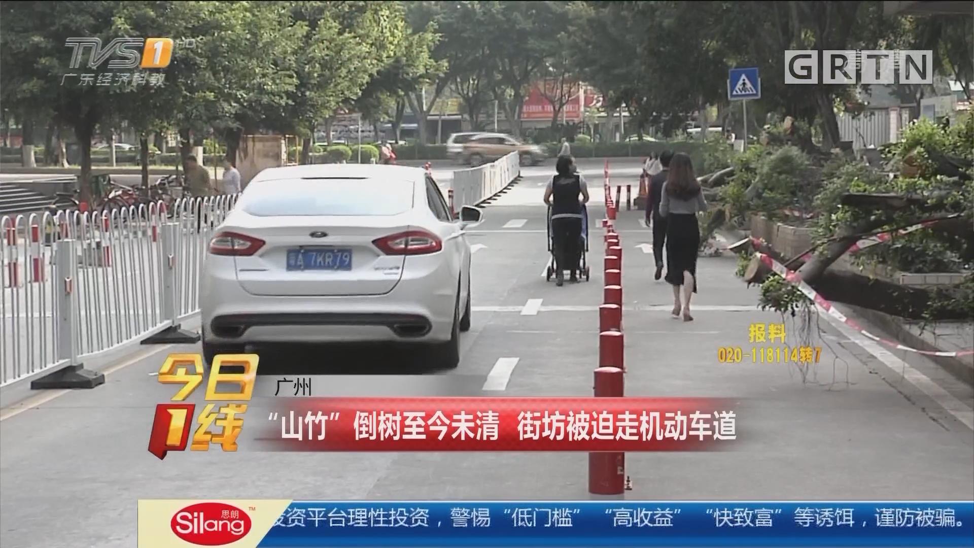 """广州:""""山竹""""倒树至今未清 街坊被迫走机动车道"""