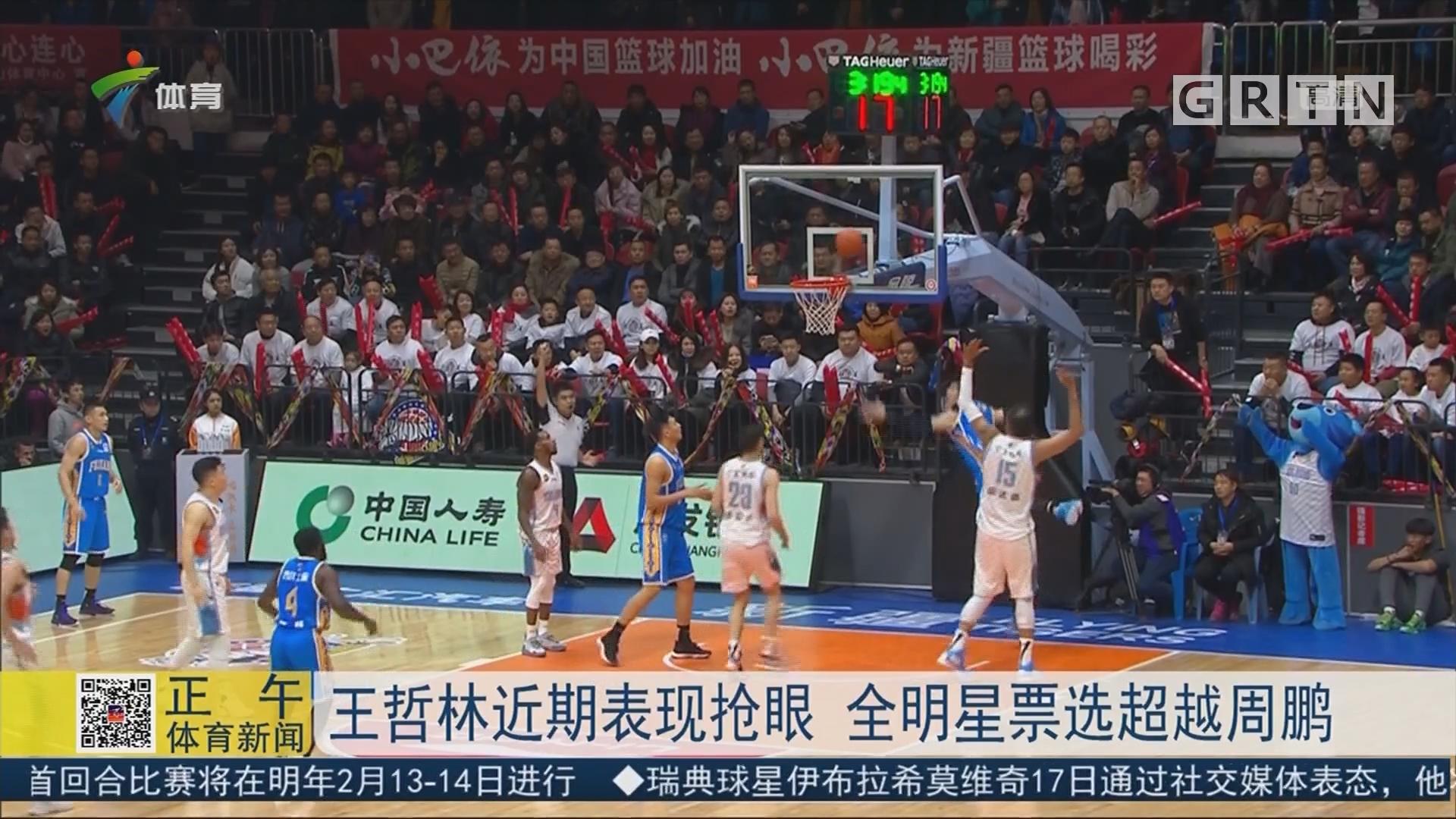 王哲林近期表现抢眼 全明星票选超越周鹏