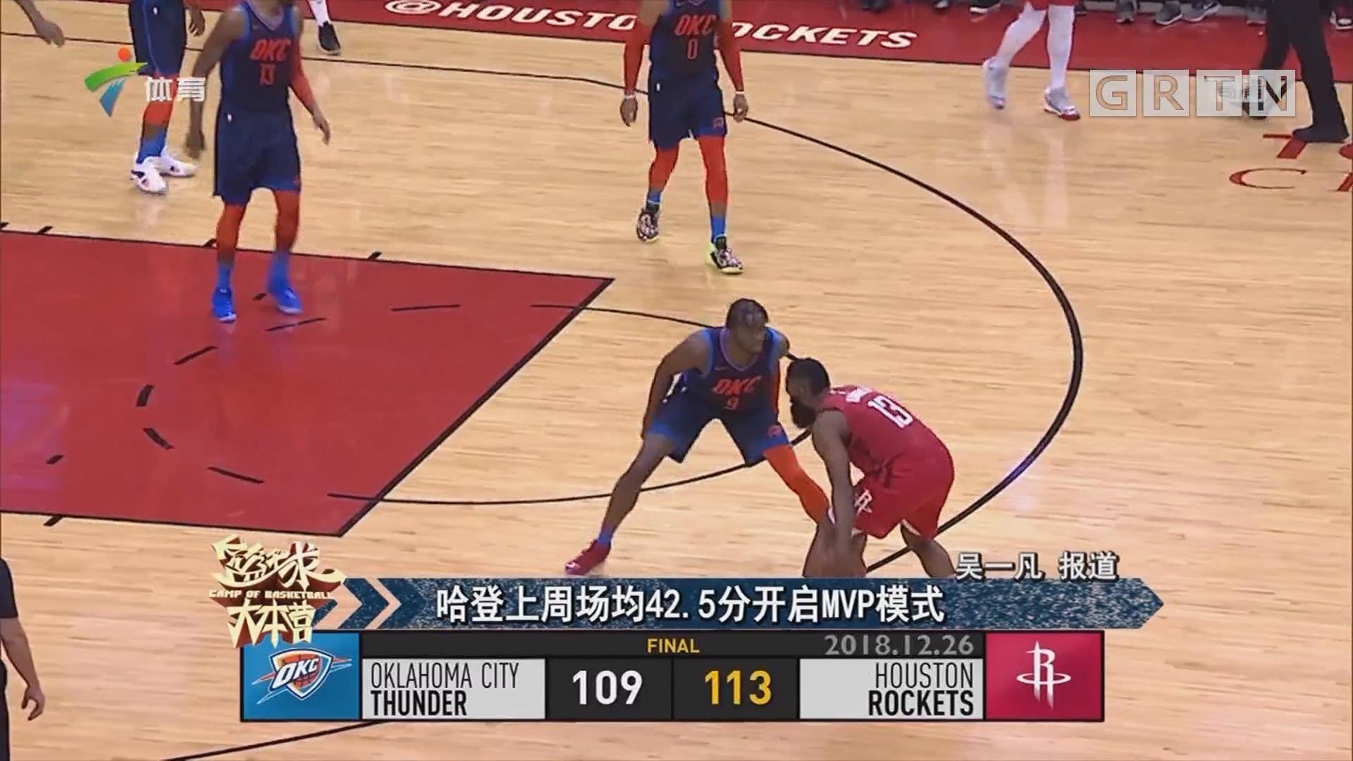 哈登上周场均42.5分开启MVP模式