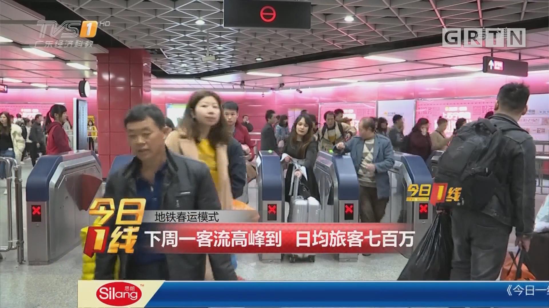 地铁春运模式:下周一客流高峰到 日均旅客七百万