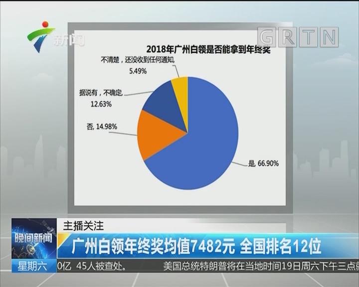 广州白领年终奖均值7482元 全国排名12位