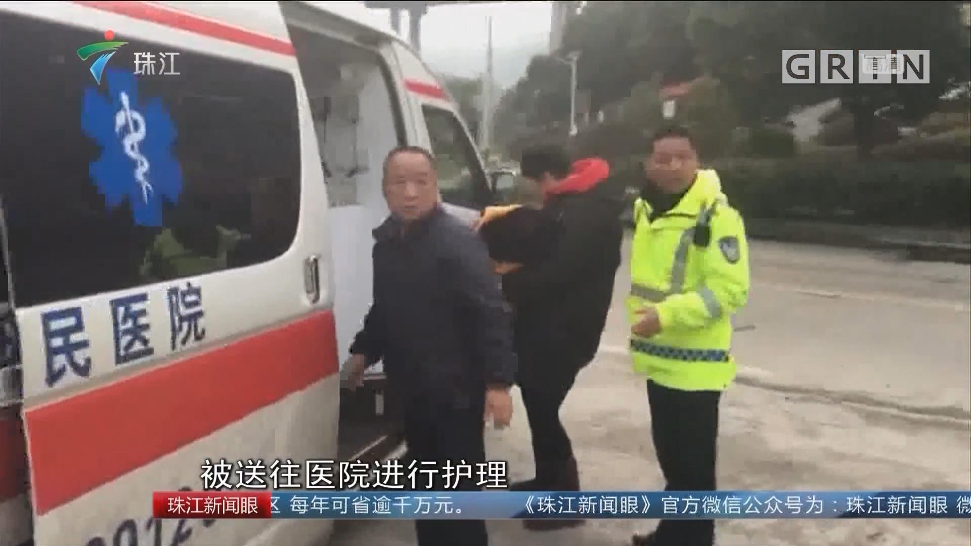 韶关:寒冷天产妇临产 医生交警接力救助