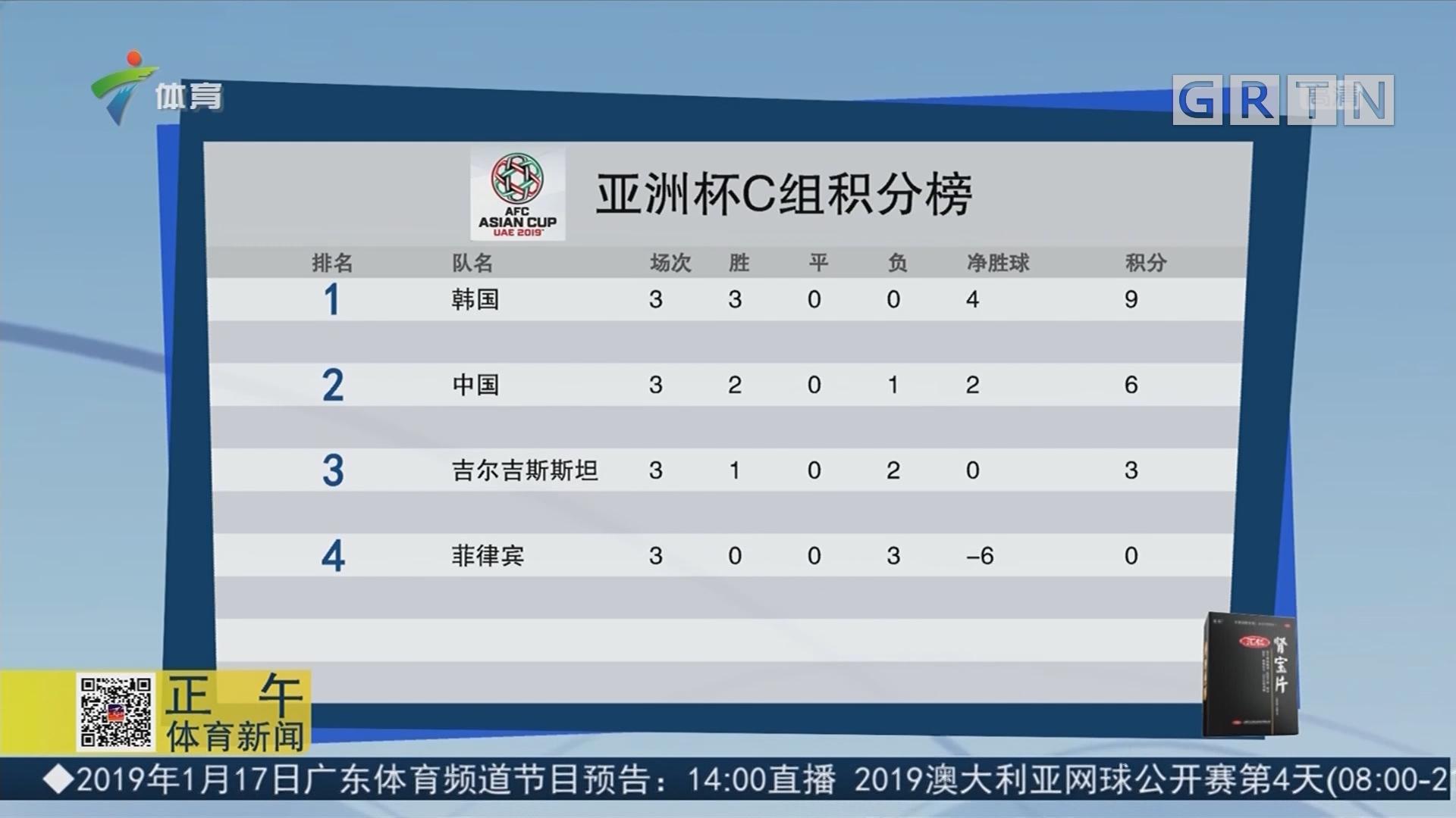 亚洲杯C组积分榜