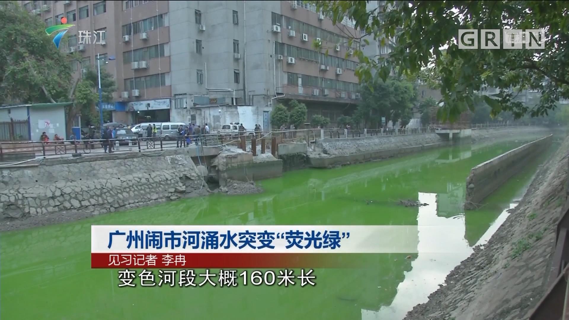 """广州闹市河涌水突变""""荧光绿"""""""