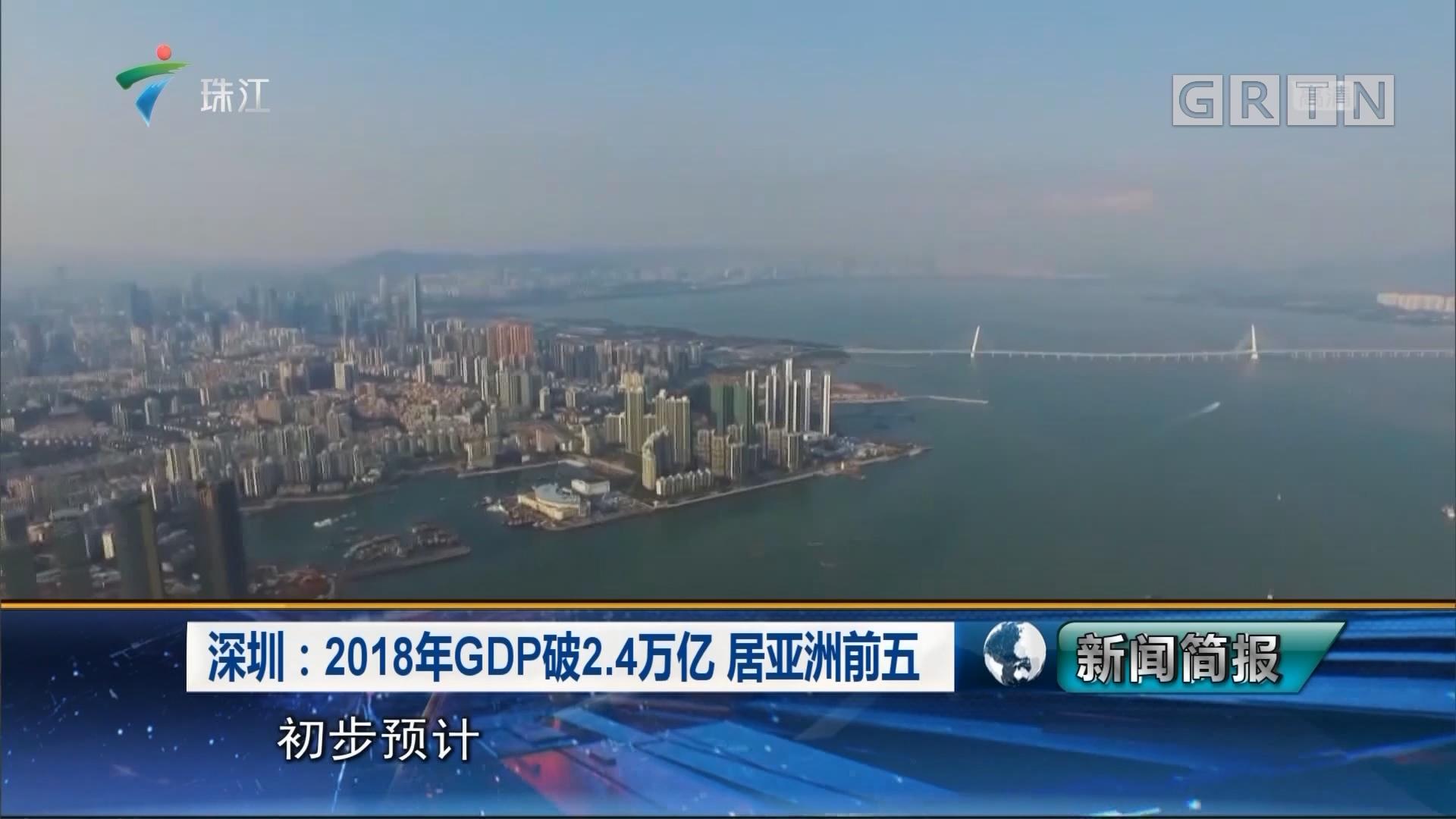 深圳:2018年GDP破2.4万亿 居亚洲前五