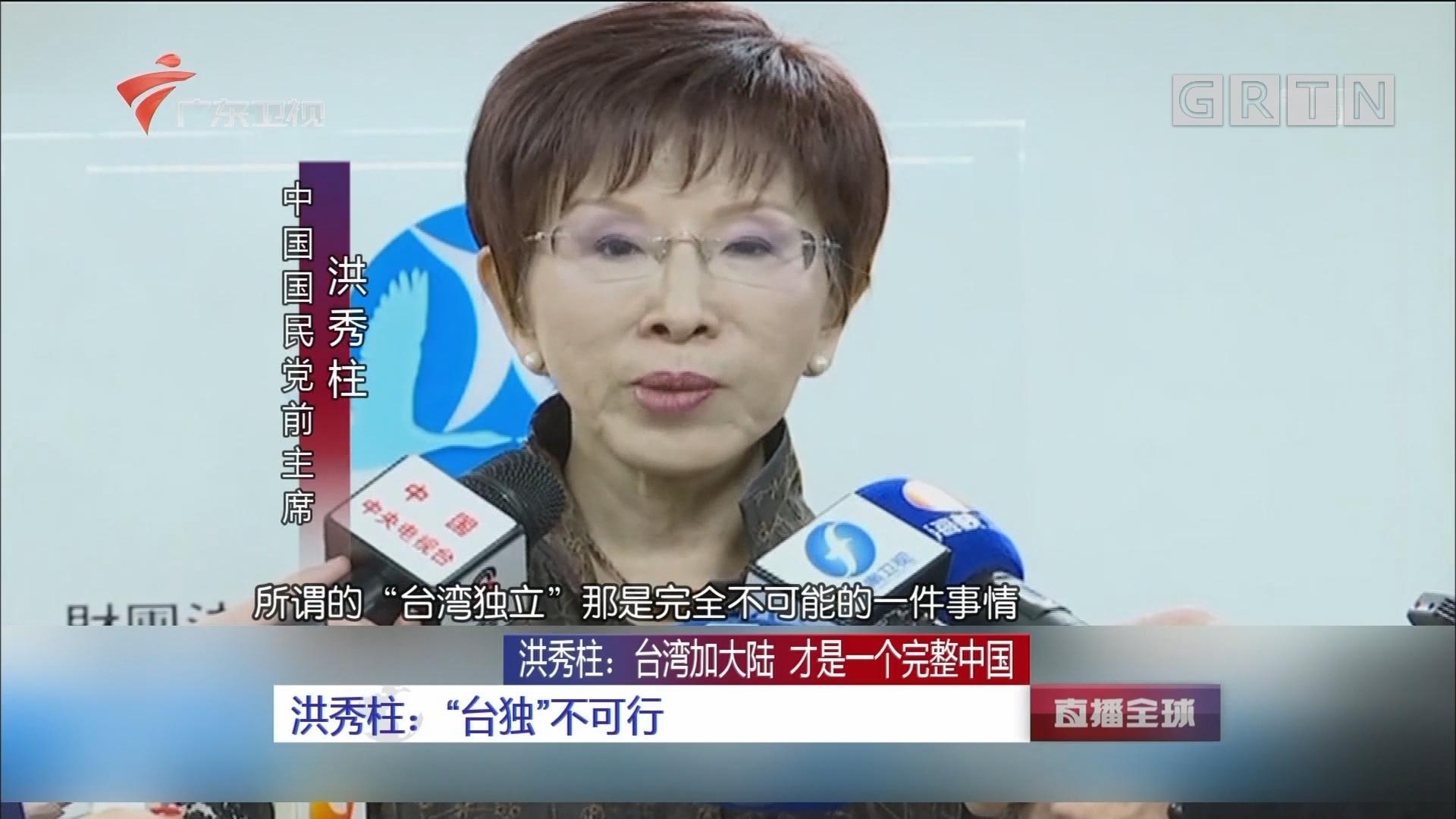 洪秀柱:台湾加大陆 才是一个完整中国 洪秀柱:两岸不统一 台湾没未来