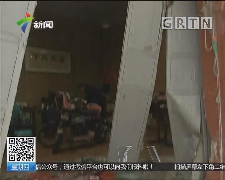 揭阳:小汽车开进店铺 撞坏店门车受损