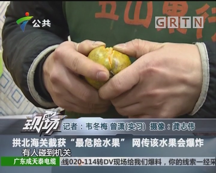 """拱北海关截获""""最危险水果"""" 网传该水果会爆炸"""