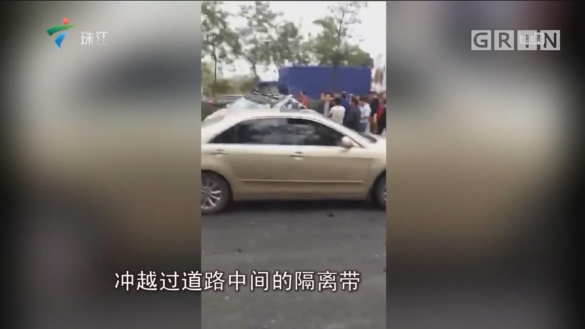 南海:货车遇事故后再连撞三车 造成1死1伤