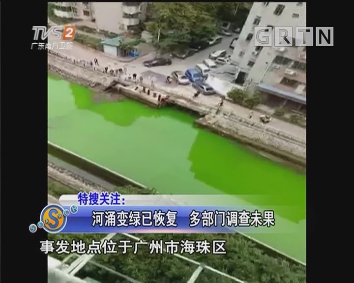 河涌变绿已恢复 多部门调查未果