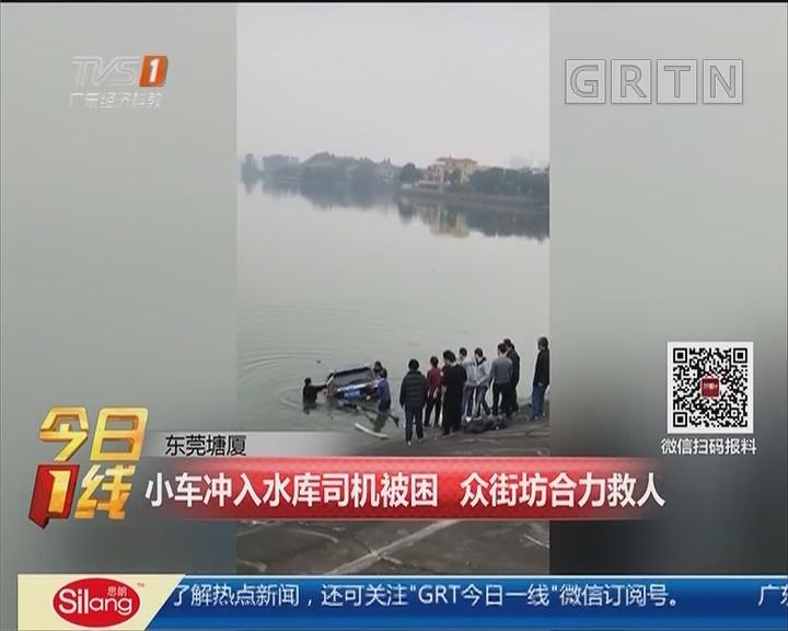 东莞塘厦:小车冲入水库司机被困 众街坊合力救人