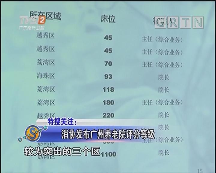 消协发布广州养老院评分等级