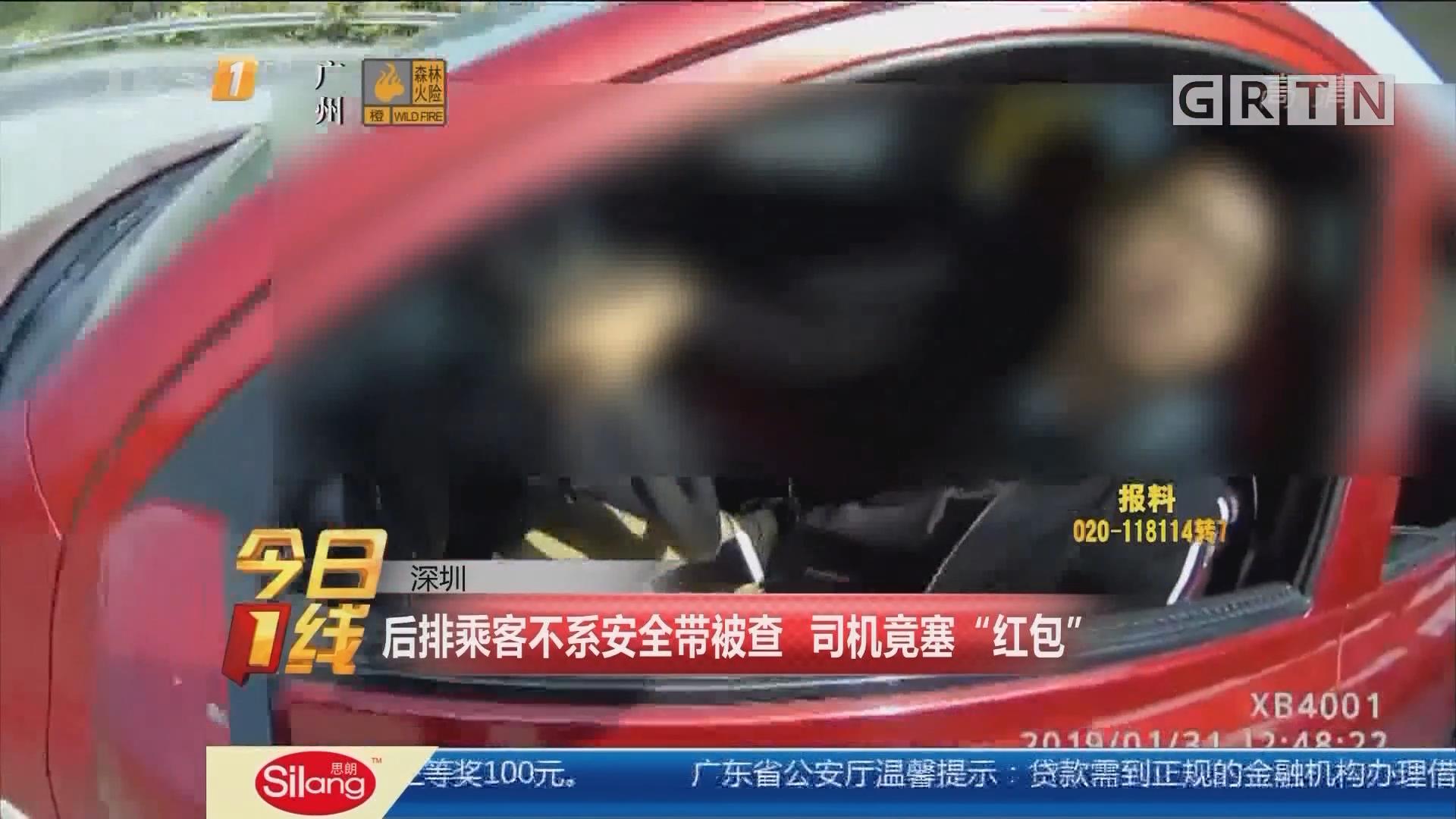 """深圳:后排乘客不系安全带被查 司机竟塞""""红包"""""""