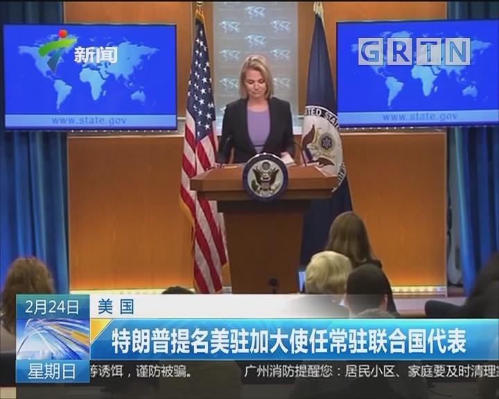 美国:特朗普提名美驻加大使任常驻联合国代表