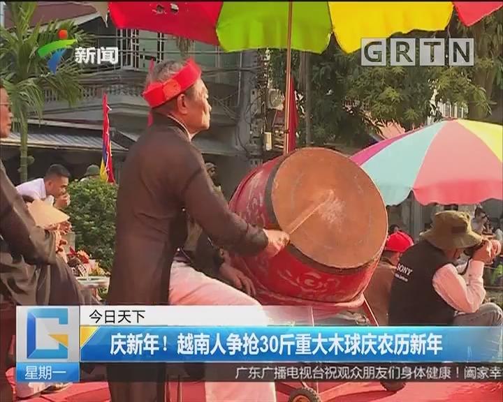 庆新年!越南人争抢30斤重大木球庆农历新年