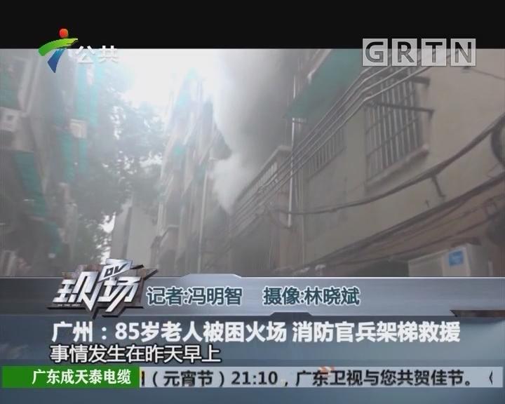 广州:85岁老人被困火场 消防官兵架梯救援