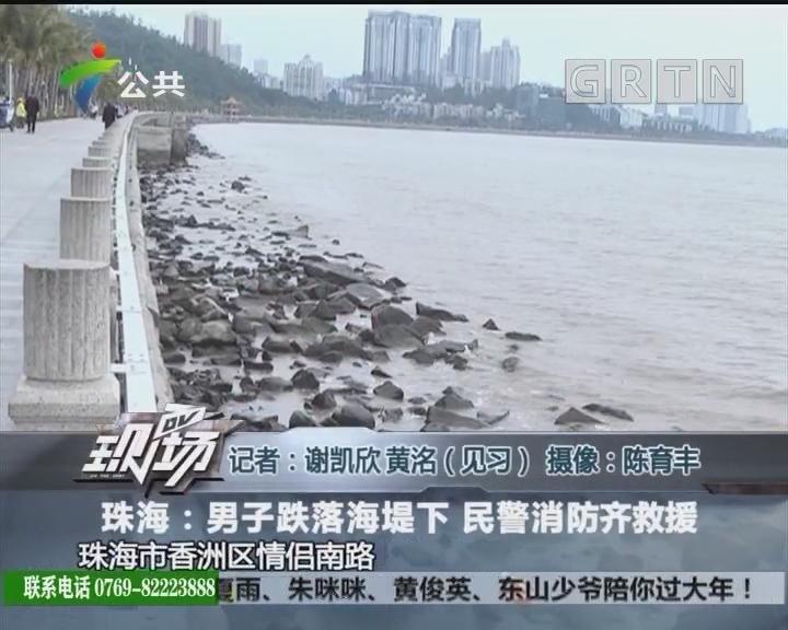 珠海:男子跌落海堤下 民警消防齐救援