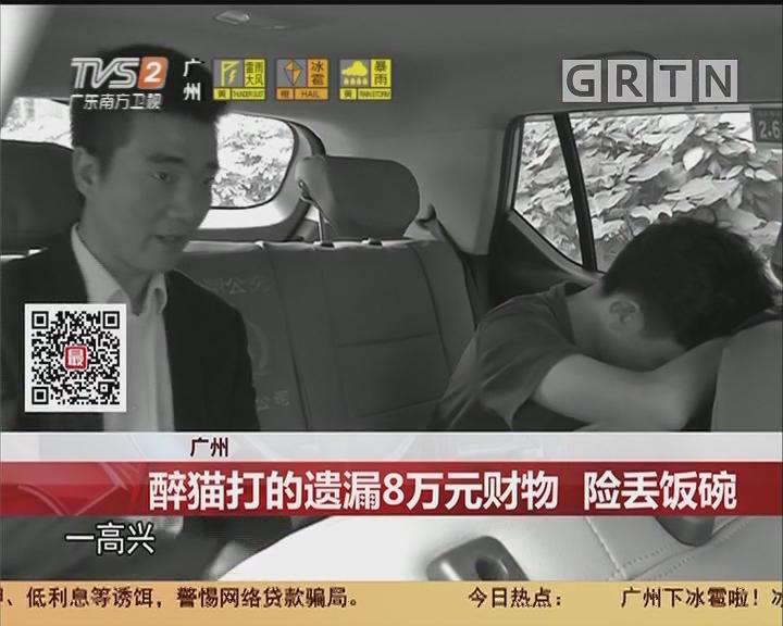 广州:醉猫打的遗漏8万元财物 险丢饭碗