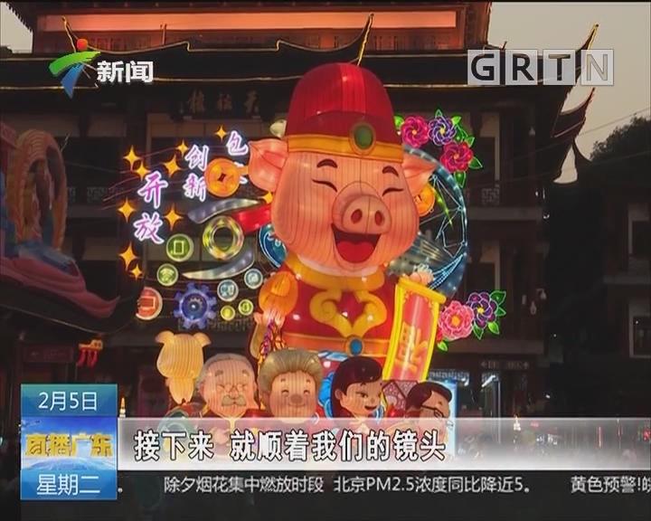 上海:豫园灯会游人如织 各色猪灯憨笑迎客