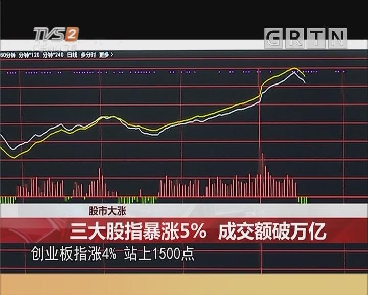 股市大涨:三大股指暴涨5% 成交额破万亿