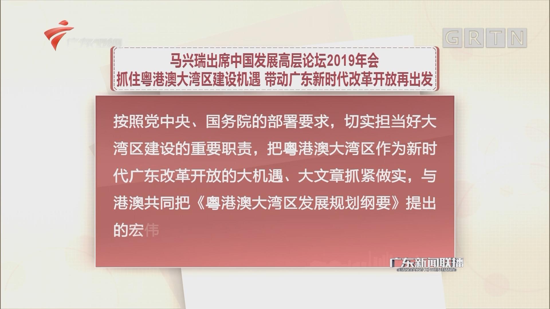 马兴瑞出席中国发展高层论坛2019年会 抓住粤港澳大湾区建设机遇 带动广东新时代改革开放再出发