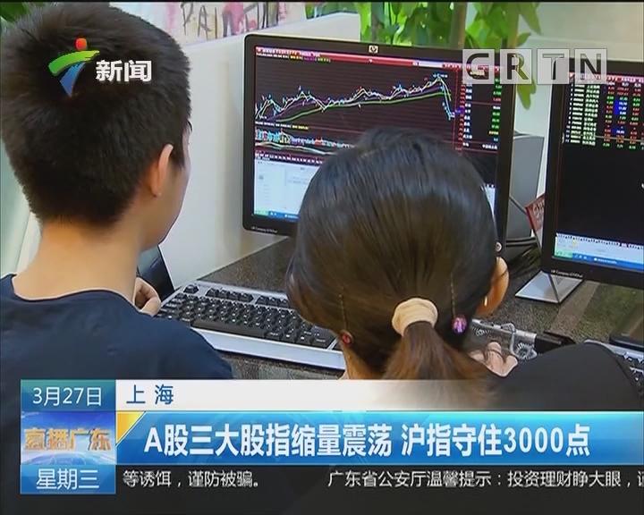 上海:A股三大股指缩量震荡 沪指守住3000点
