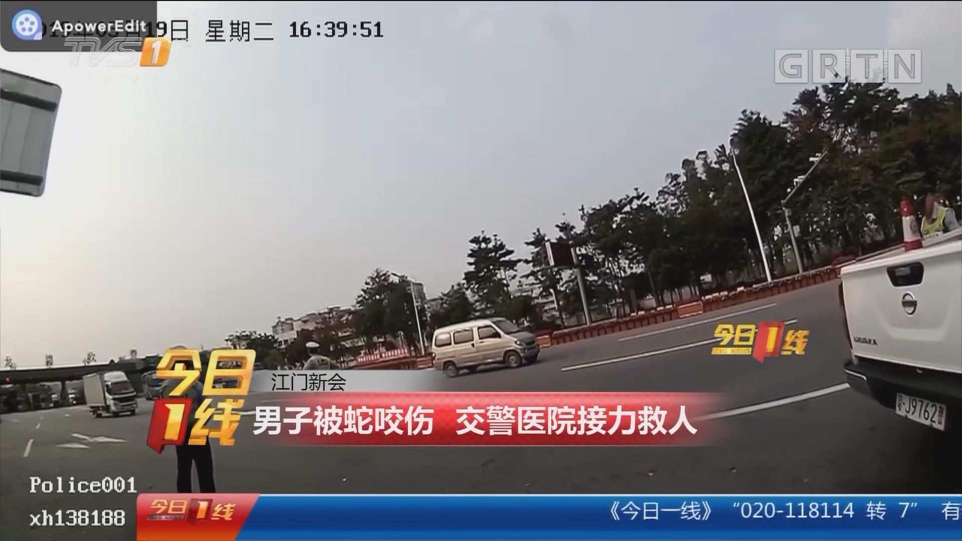 江门新会:男子被蛇咬伤 交警医院接力救人