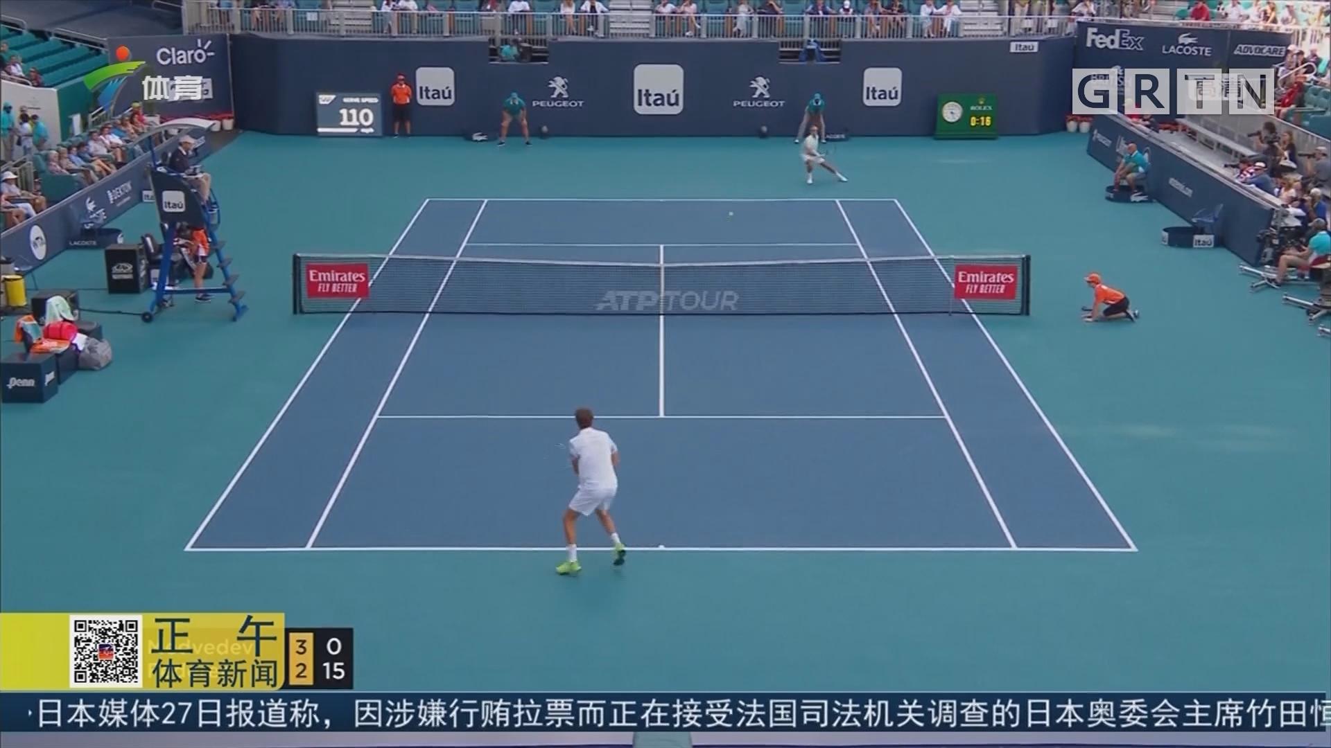 ATP迈阿密赛 瑞士天王轻取俄罗斯新秀