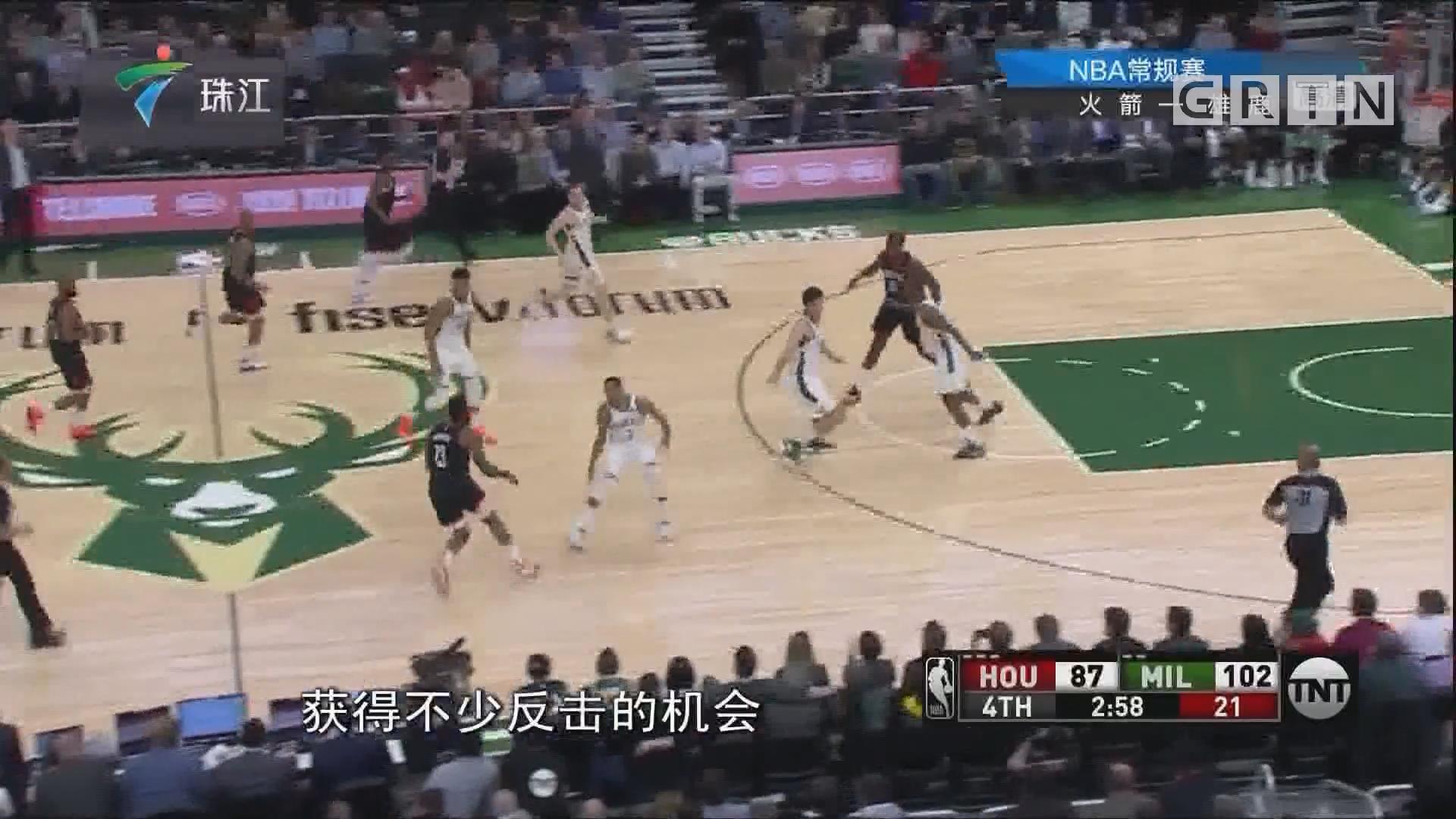 NBA:雄鹿击败火箭 收获三连胜