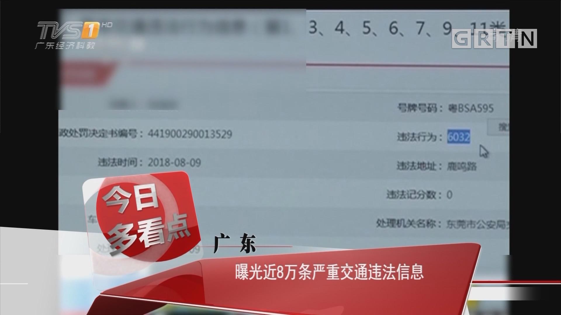 广东:曝光近8万条严重交通违法信息