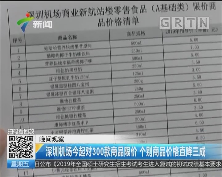 深圳机场今起对300款商品限价 个别商品价格直降三成
