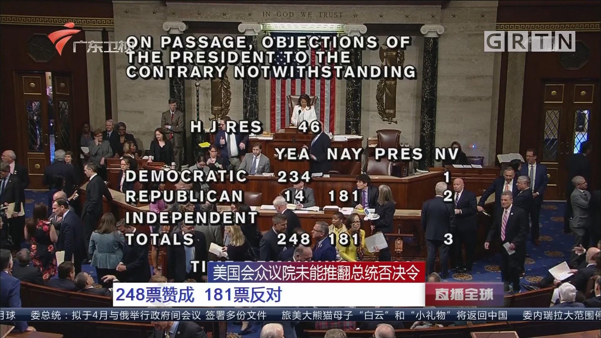 美国会众议院未能推翻总统否决令:248票赞成 181票反对