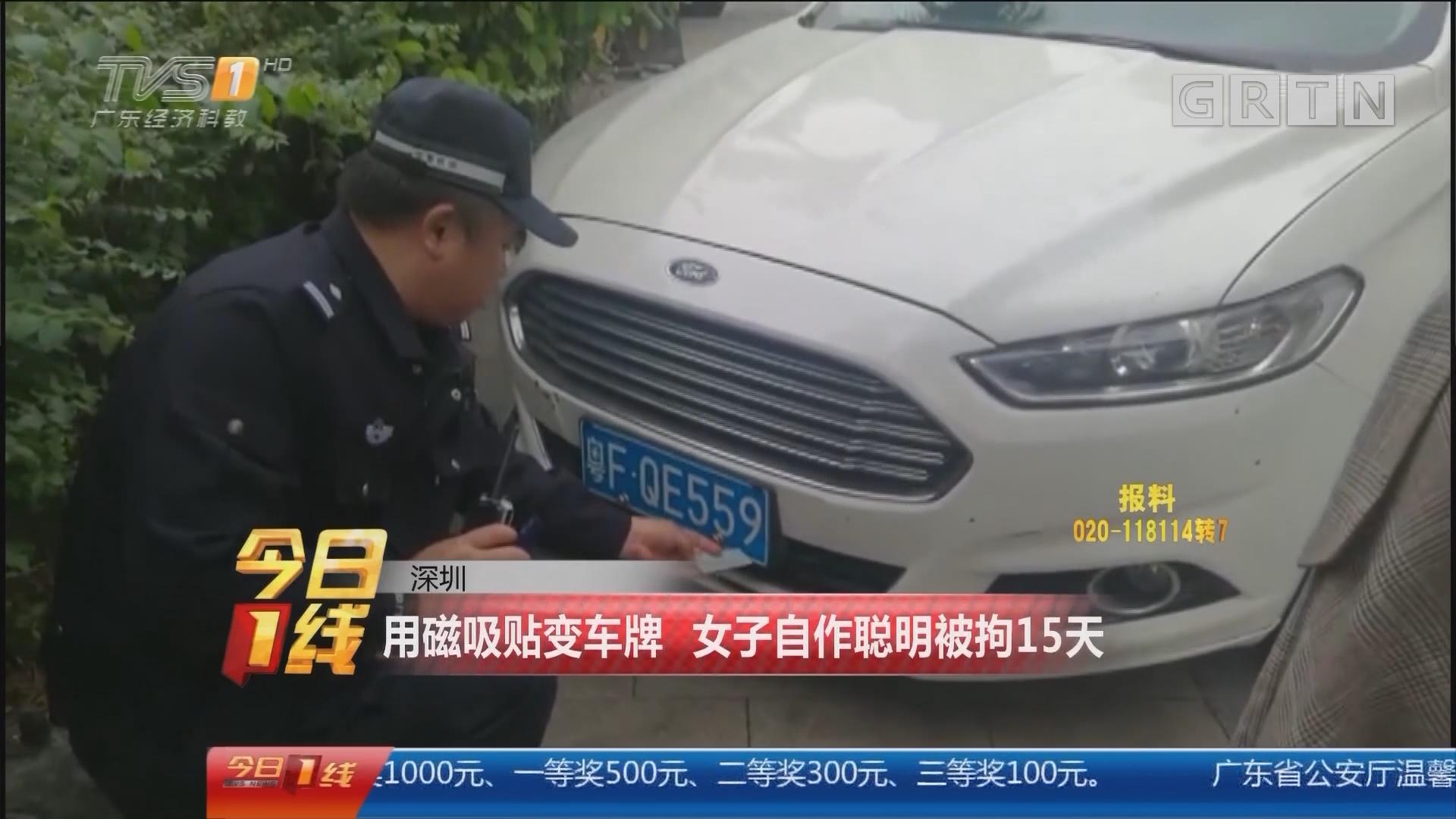 深圳:用磁吸贴变车牌 女子自作聪明被拘15天