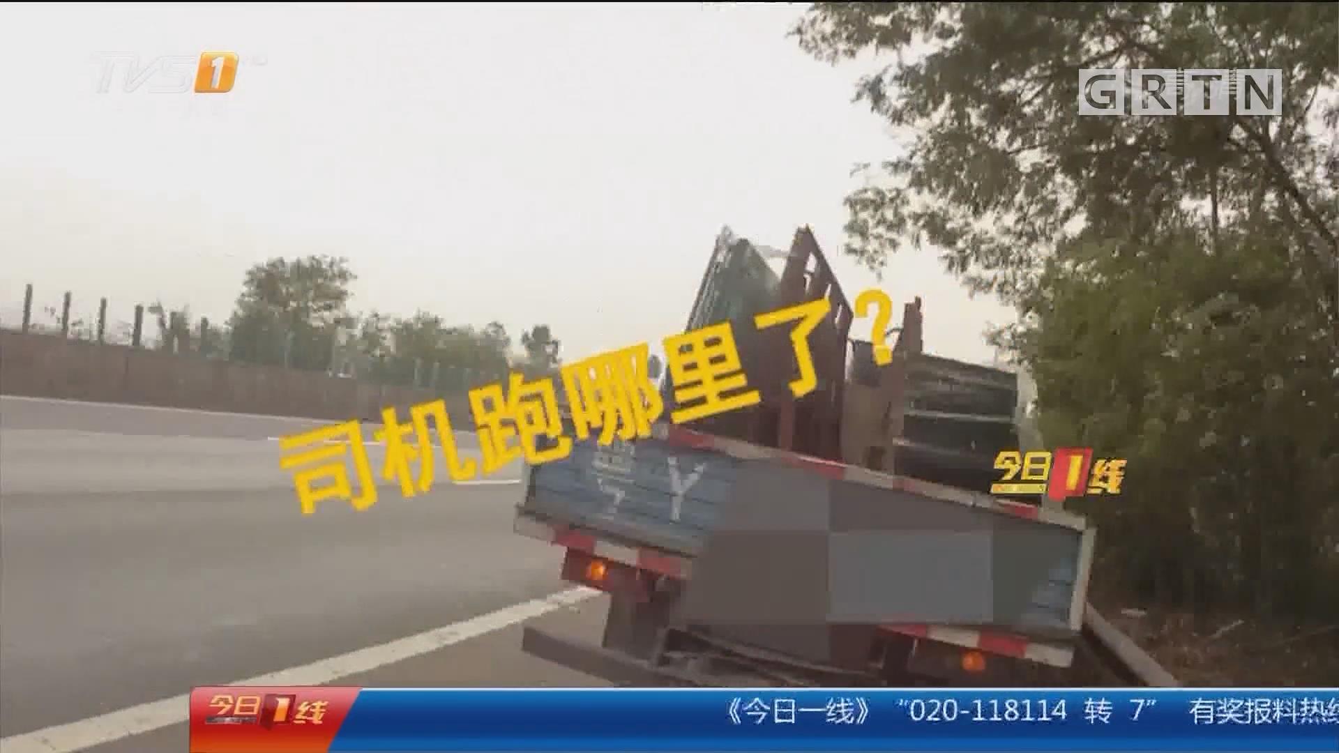 """佛山禅城:货车司机高速路上违停 为""""寻百草""""?!"""