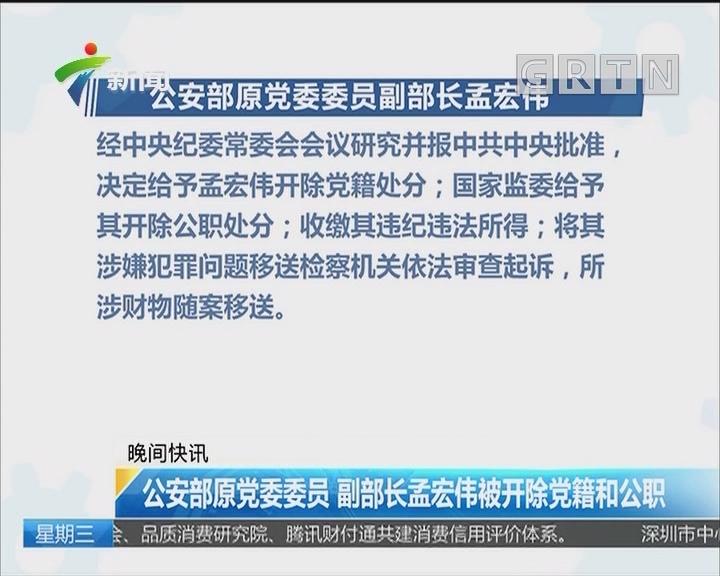 公安部原党委委员 副部长孟宏伟被开除党籍和公职