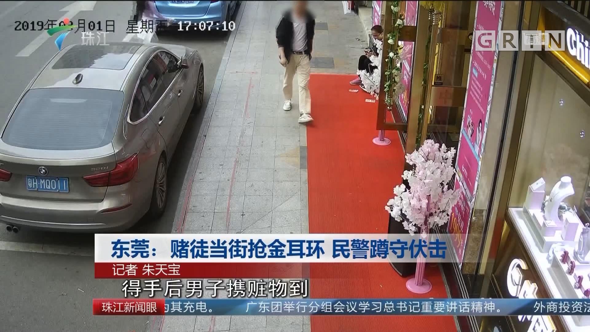 东莞:赌徒当街抢金耳环 民警蹲守伏击