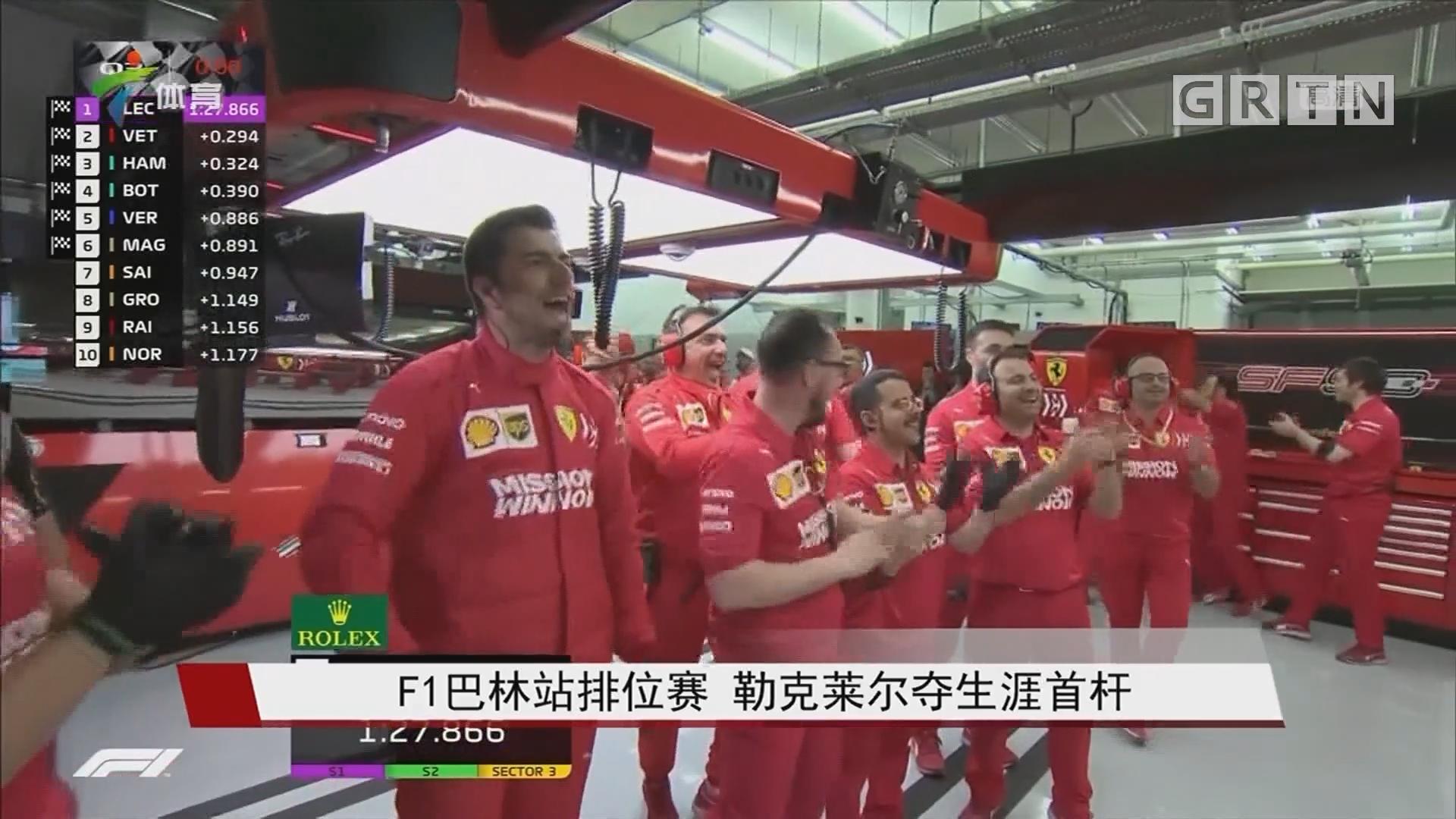 F1巴林站排位赛 勒克莱尔夺生涯首杆