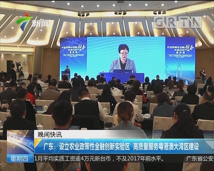 广东:设立农业政策性金融创新实验区 高质量服务粤港澳大湾区建设