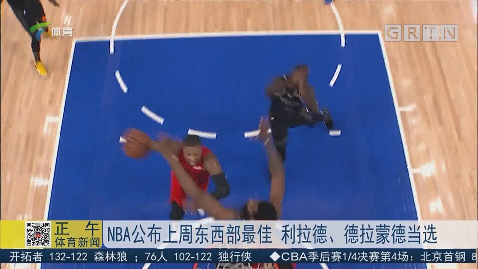 NBA公布上周东西部最佳 利拉德、德拉蒙德当选