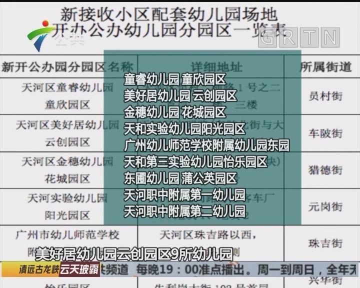广州天河新增3960个公办学前教育学位