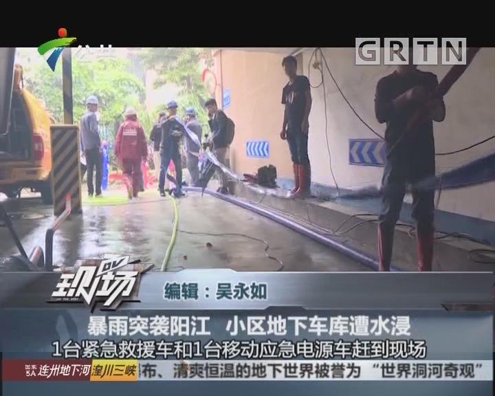 暴雨突袭阳江 小区地下车库遭水浸