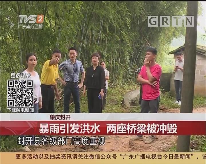 肇庆封开:暴雨引发洪水 两座桥梁被冲毁