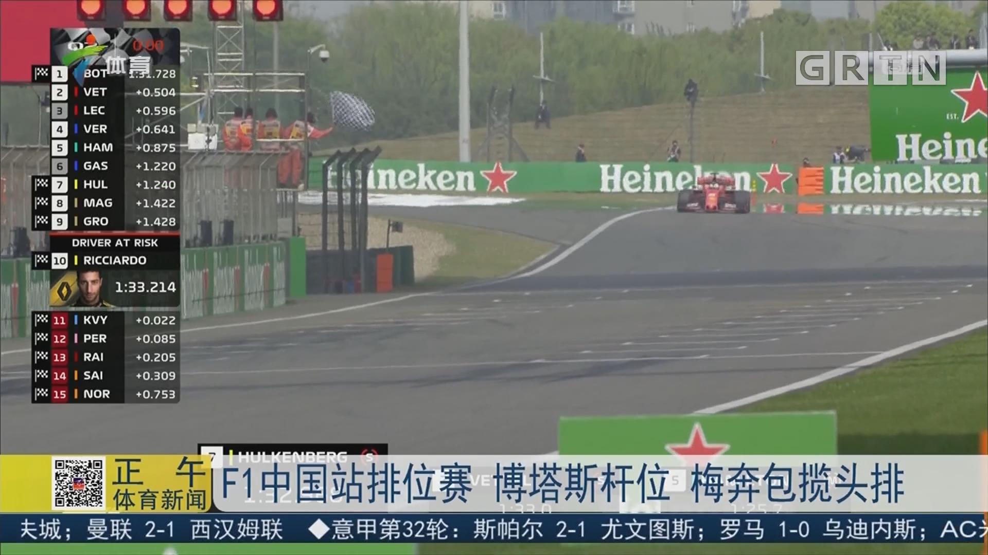 F1中国站排位赛 博塔斯杆位 梅奔包揽头排