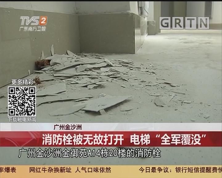 """广州金沙洲:消防栓被无故打开 电梯""""全军覆没"""""""
